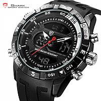 Мужские наручные часы Shark SH597 Men's Black&Red Rubber Strap LED Dual, фото 1