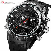 Мужские наручные часы Shark SH597 Men's Black&Red Rubber Strap LED Dual, фото 1