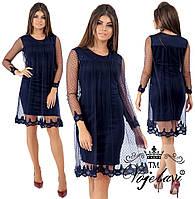 de3879f8a18 Модное женское платье с сеткой и кружевом дайвинг 42 - 46 рр