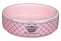 """Trixie (Трикси)  Миска """"Cat Princess"""" керамическая розовая 450 мл/16см"""