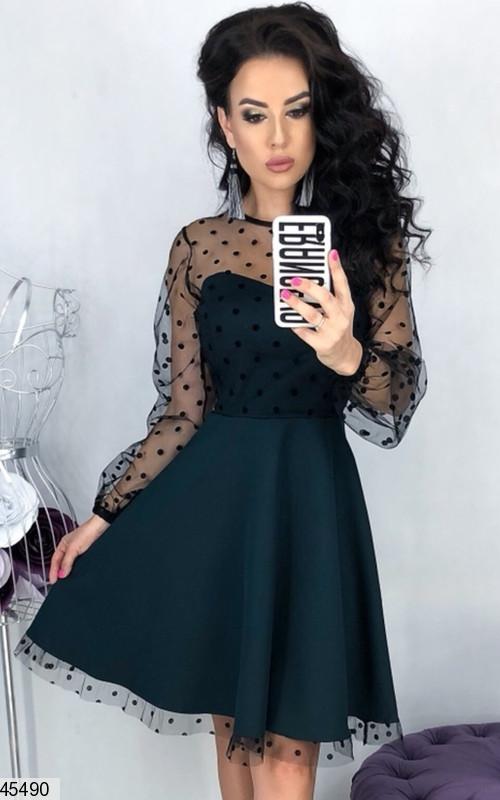 88c92ecbe09 Вечернее платье выше колен юбка клеш рукав длинный в горох цвет бутылка