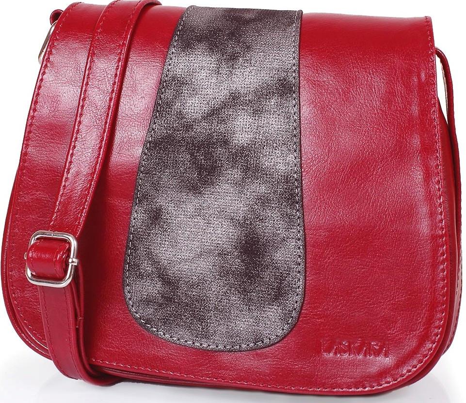 Кожаная сумка-почтальонка LASKARA LK-DD217-wine, женская