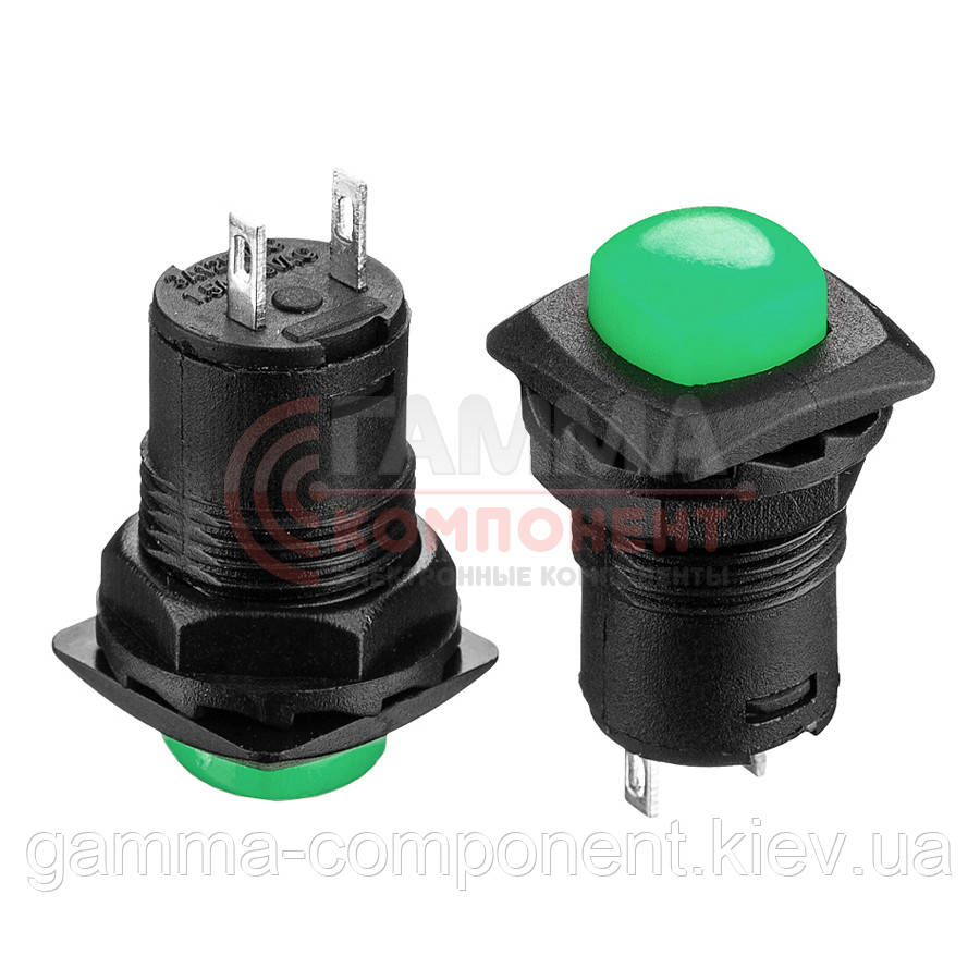 Кнопка нажимная DS-226, ON-OFF, 1,5А, зелёный