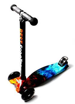 Детский самокат MAXI Fire and Ice Светящиеся черные колеса Огонь и Лед Гарантия качества