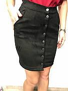 Женская юбка черная с пуговицами по всей длине