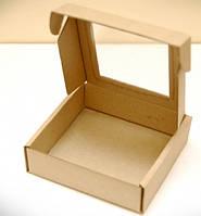 Коробка для печенья, пряников, с окном, 15 см х 15 см х 2.6 см, микрогофрокартон