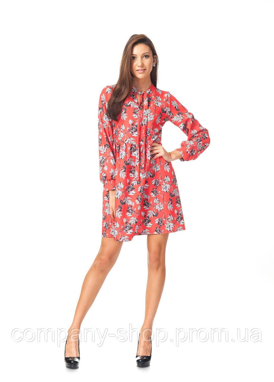 Платье демисезонное оптом. Модель П124_ягода красная