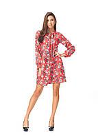 Платье демисезонное оптом. Модель П124_ягода красная, фото 1