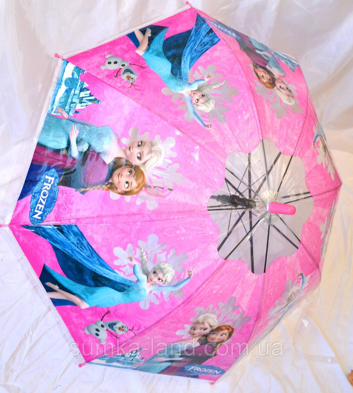 Детский розовый силиконовый зонт для девочек (Frozen)