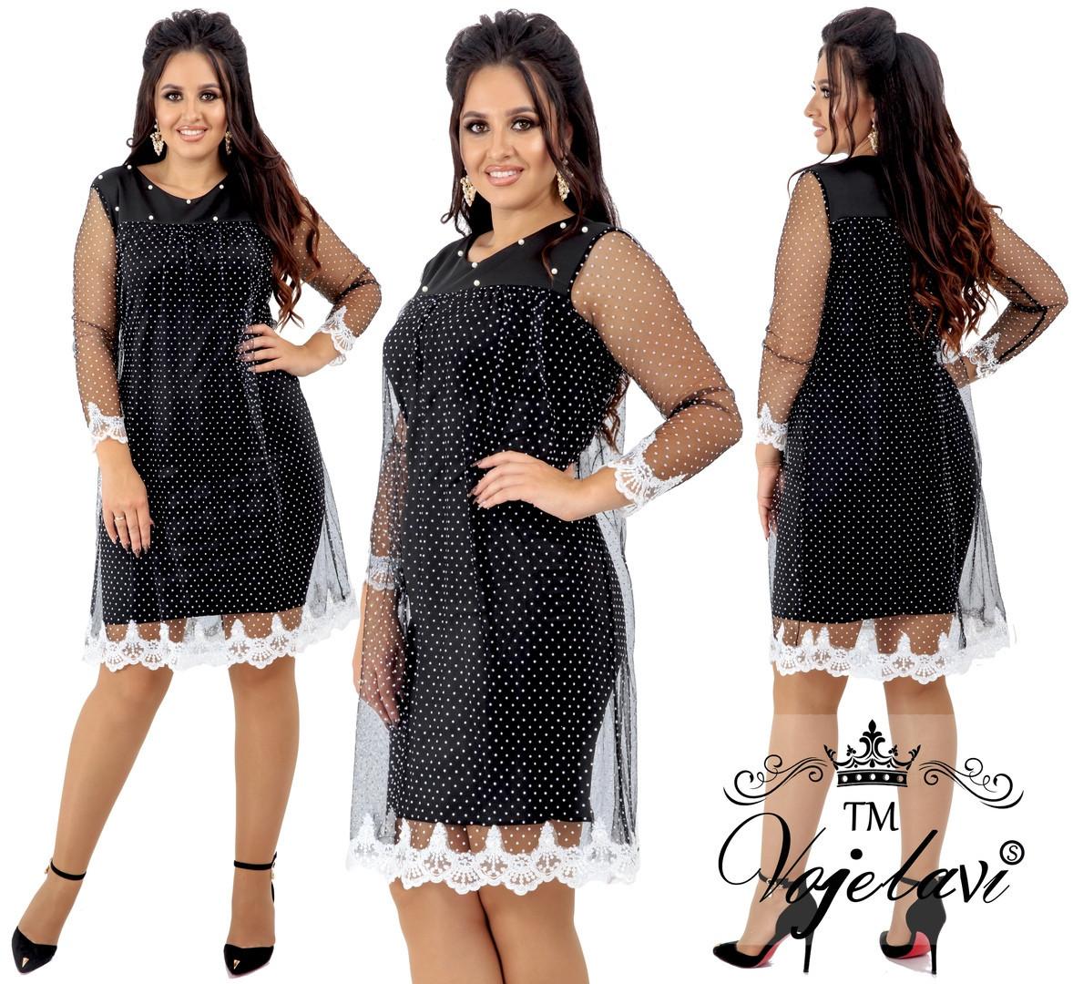 fb0023e08f2b853 Модное женское платье с сеткой и кружевом дайвинг 48 - 62 рр ...