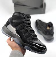 Мужские кроссовки Nike Air Jordan 11 Black. Живое фото (Реплика ААА+)