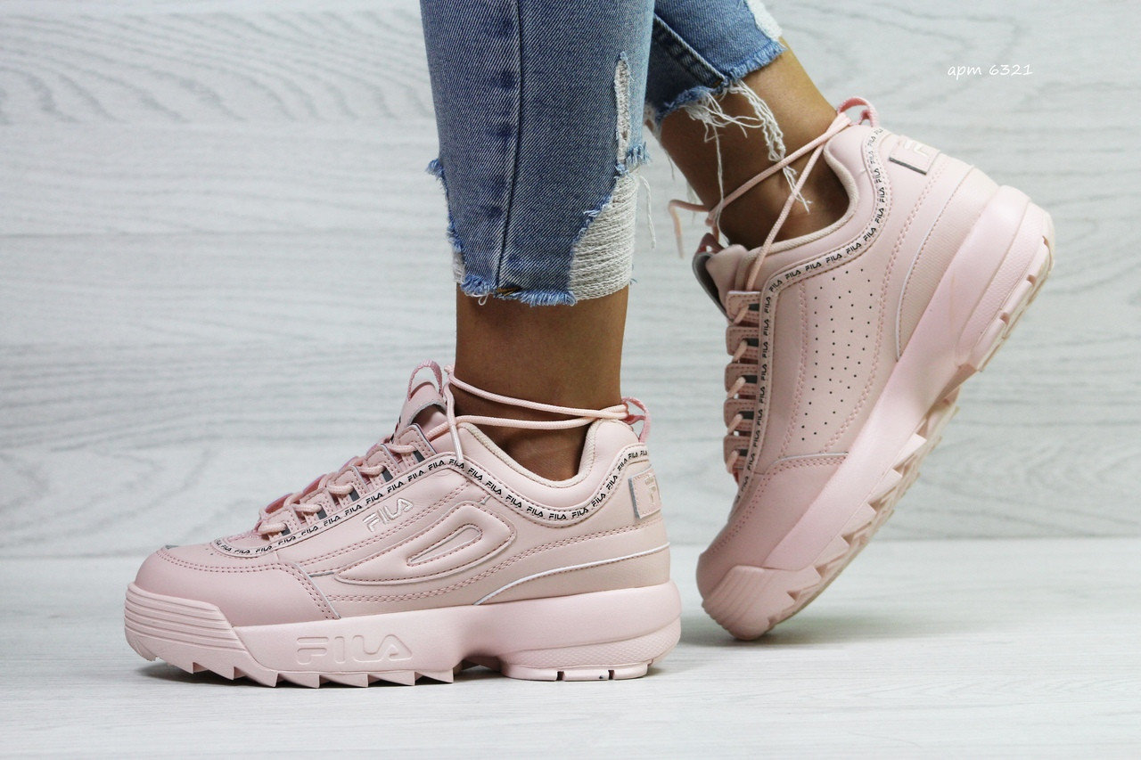 4f7f26eee9f8 Кроссовки в стиле Fila disruptor (розовые) женские кроссовки фила код  товара 6321
