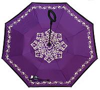 Зонт (Антизонт) UpBrella,  ветрозащитный обратного сложения (умный зонт) фиолетовый