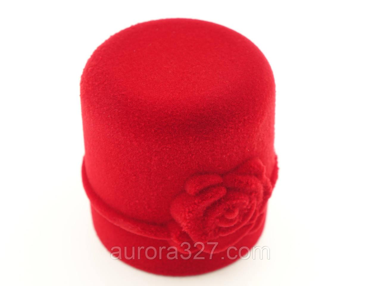 """Бархатный футляр для кольца """"Цилиндр с розой"""" красный"""