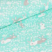 ✁ Отрезы польской бязи Кролики на мятном, фото 1