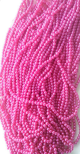 Бусины  8 мм на нитке, цвет:малиновый