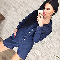 Женский комбинезон джинсовый с шортами с карманами