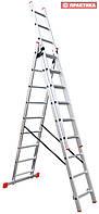 Лестница-стремянка 3х9 ПРАКТИКА, алюминиевая