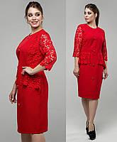 3e9b1fe3666 Красное платье демисезонное женское больших размеров нарядное деловое  классическое с гипюром
