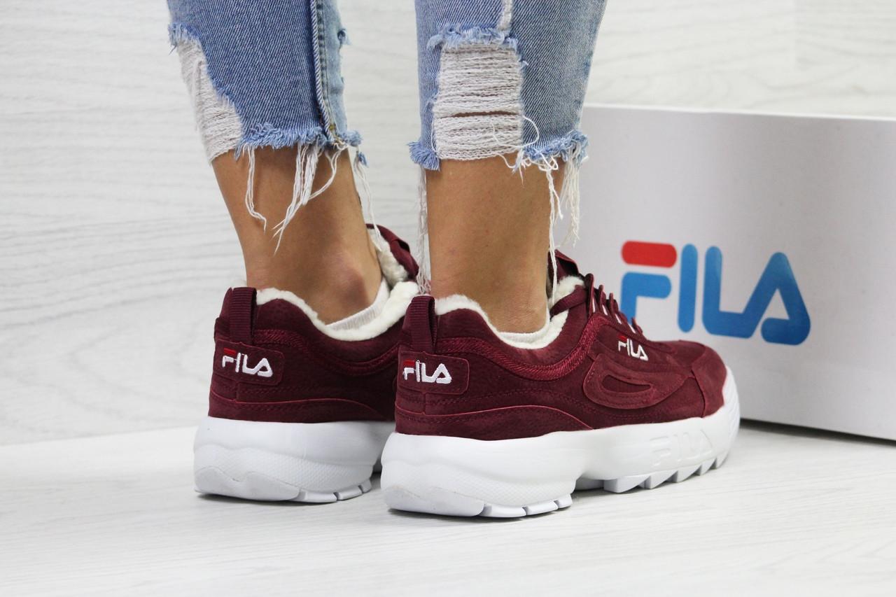 8016cf744 ... Кроссовки в стиле Fila disruptor (бордовые) зимние женские кроссовки  фила код товара 6341, ...