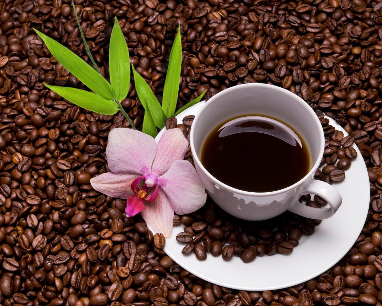 """Картина на стекле """"Цветок и кофе"""""""