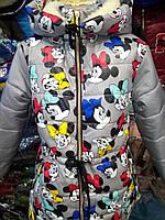 """Детская зимняя куртка принт """"Микки"""" на девочку 6-10 лет, серый"""