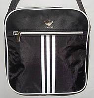 Мужская сумка Adidas черный текстиль и вставка из эко-кожи копия
