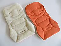 Вкладыш без бортиков на овчине оранжевый , фото 1