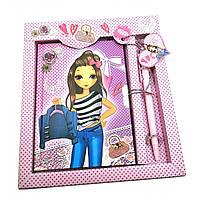 Блокнот с замком для девочек розовый (2 ключа)(19,5х17,5х2 см) ( 32098)