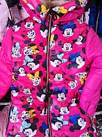 """Дитяча зимова куртка принт """"Міккі"""" на дівчинку 6-10 років, малина"""