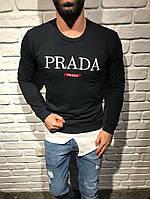 Свитшот чёрный принт Prada | Кофта стильная