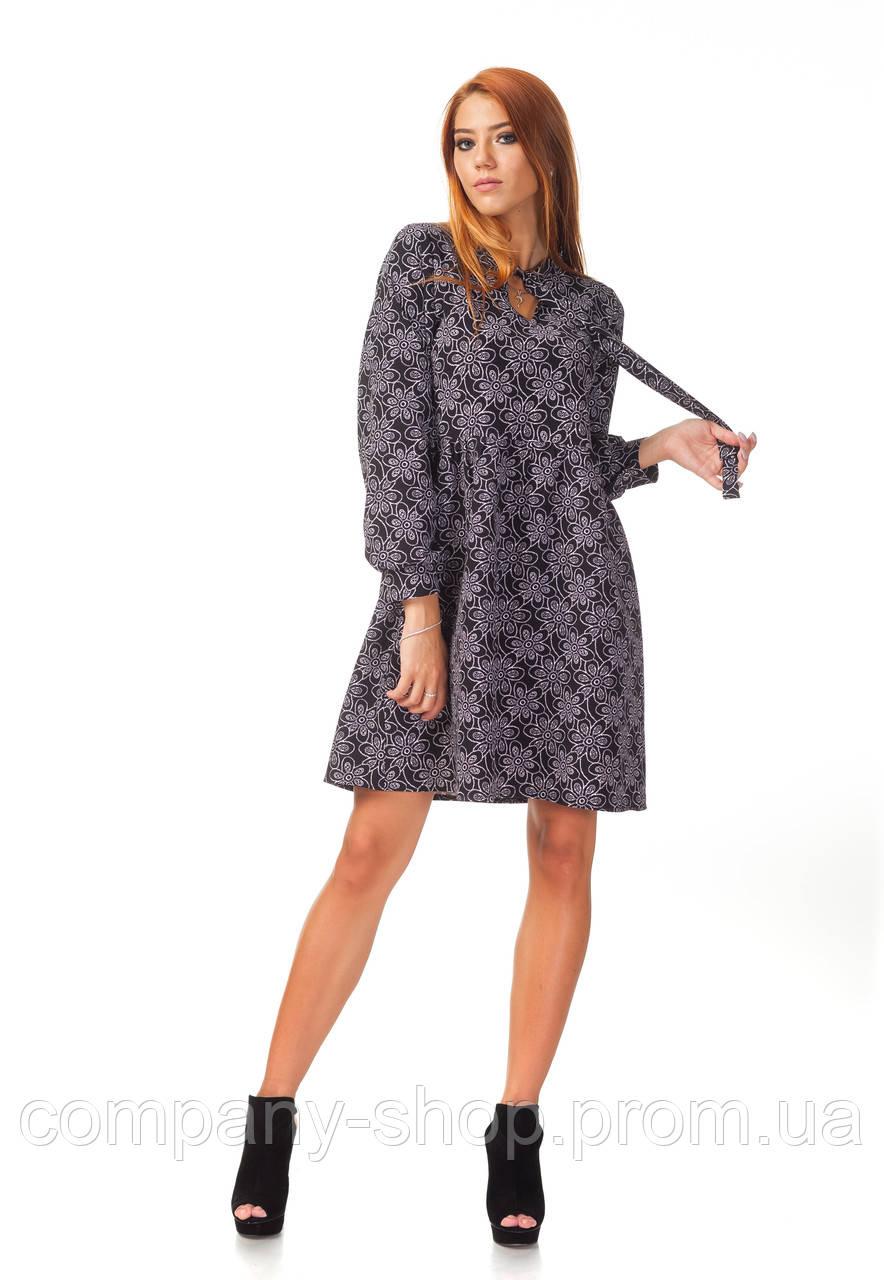 Платье демисезонное оптом. Модель П124_ромашка черная