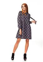 Платье демисезонное оптом. Модель П124_ромашка черная, фото 1