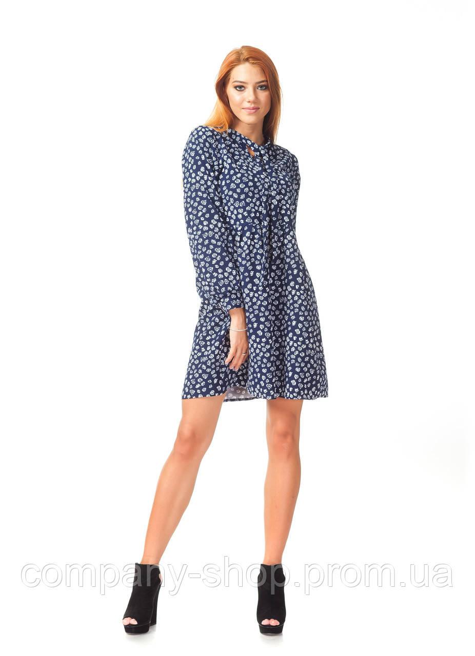 Платье демисезонное оптом. Модель П124_синий цветочек