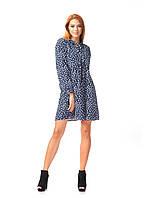 Платье демисезонное оптом. Модель П124_синий цветочек, фото 1