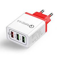 Сетевое зарядное устройство XOKO QC-300 3 USB, Qualcom 3.0, 4.8A Red