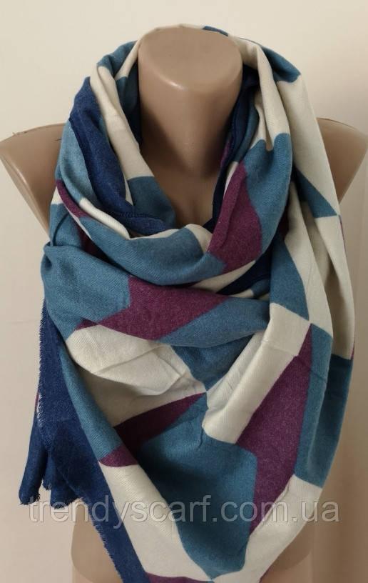 Женский Кашемировый шарф-палантин. Голубой бордовый белый ромбы. Кашемир 180\70