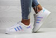Зимние кроссовки Adidas Superstar, артикул: 6356 Белый/Фиолетовый