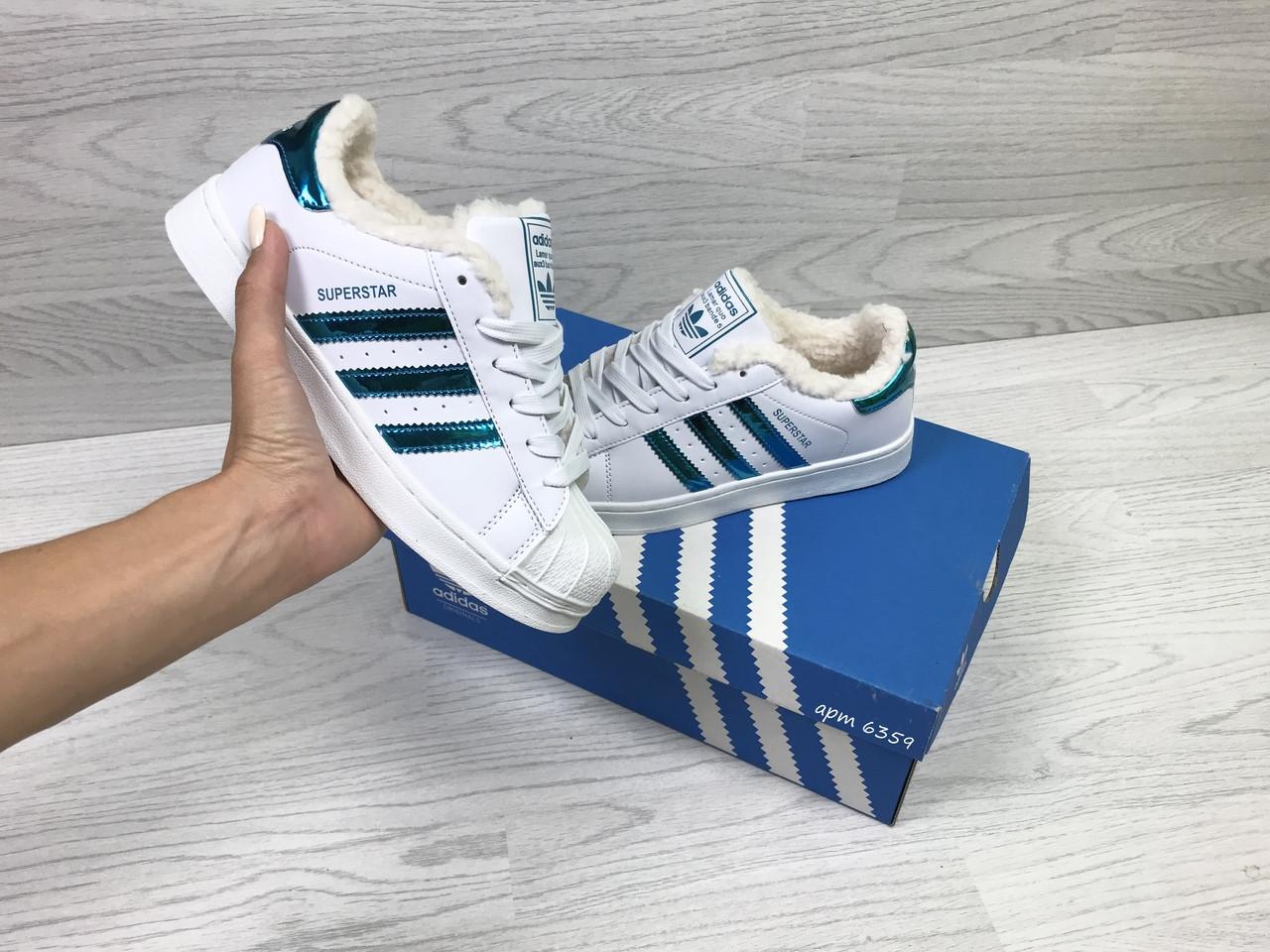 ... Кроссовки в стиле Adidas Superstar (белые с зеленым) женские зимние  кроссовки код товара 6359 ... d590c9b78e963
