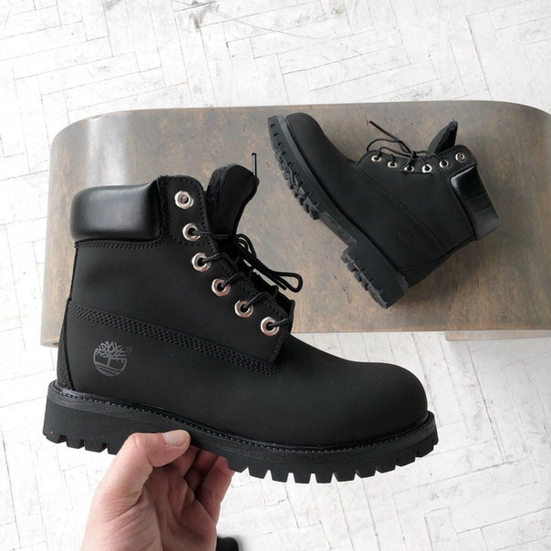 Ботинки в стиле Timberland 6 inch All Black мужские тимберленд (С Мехом) -  Интернет 26514aba02c5a