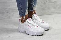 Зимние женские кроссовки Fila брендовые стильные удобные на меху (белые), ТОП-реплика