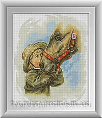 Мальчик с лошадью. Набор алмазной живописи (квадратные, полная)