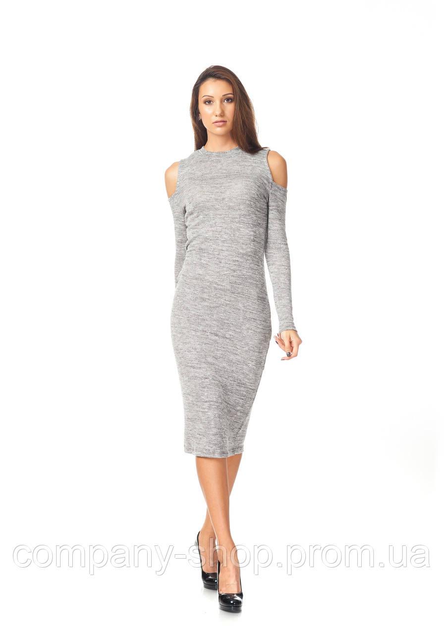 Платье с открытыми плечами. Модель П125_серая вязка