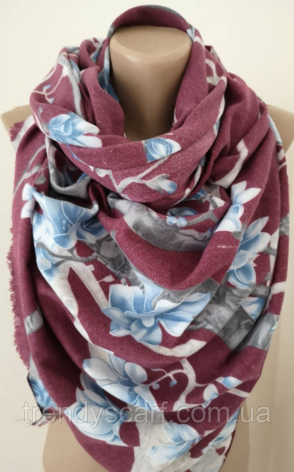 Женский Кашемировый шарф-палантин.Бордовый  бежевый голубой.Цветы Скура Кашемир 180\70