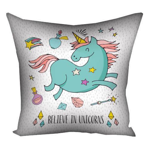 Подушка с принтом Believe in unicorns 40x40 см (4P_FAM003)