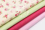 """Набор тканей 40*40 см из 4 шт """"Розовые цветочки, горошек с клеточкой и полоской"""" №89, фото 2"""