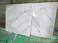 Нескользкая глянцевая Плитка для пола под Белый Мрамор Calacatta 602х602 мм Керамогранит напольный