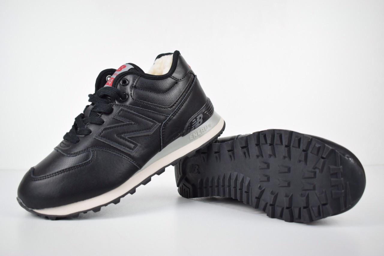 Зимние женские кроссовки New Balance 574 низкие черные 3212  продажа ... 57a26eda6af