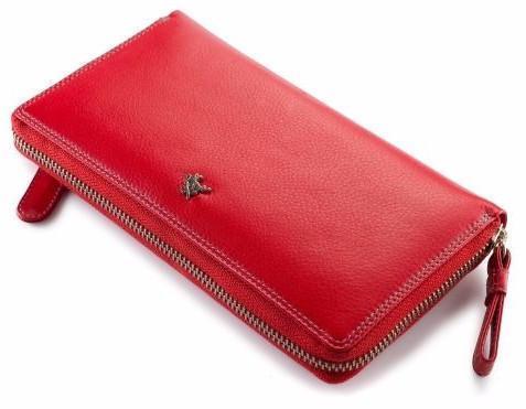 Женский кошелек-клатч кожаный красный Visconti SP-33 RED
