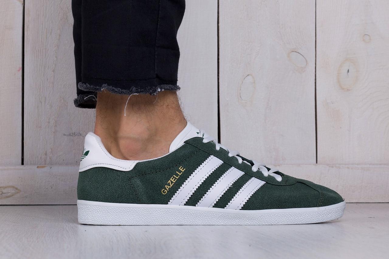Мужские кроссовки Adidas gazelle зелено-белые топ реплика